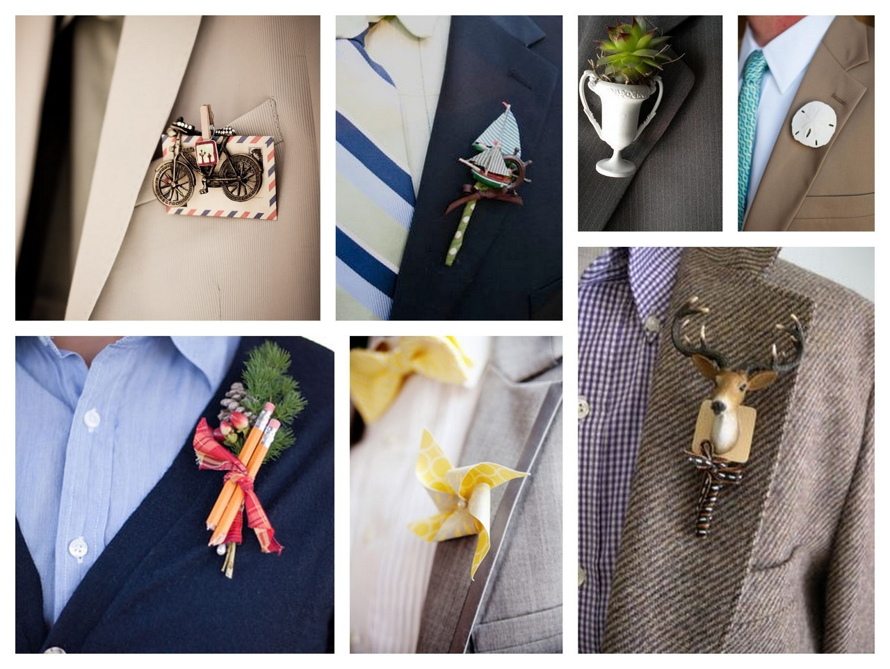 Collection of unique groom boutonnieres