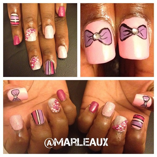 #nailart New acrylics for @prettiiryckii. The bling & pearl nails<—-😍 I used OPI Pink Friday, Dim Sum Plum and Do You Lilac It?. #opi #bowtifulnails #acrylicnails  (Taken with Instagram)