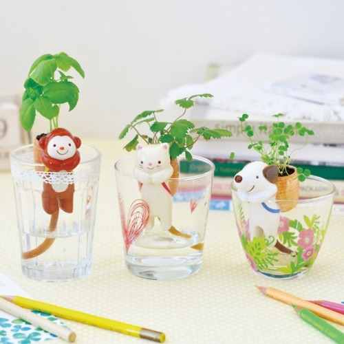 I WANT THESE SO BAD! Ooooooh goodness <3they are little animal figures that have a 'backpack' on, but its a pot for planting a seed and a string comes down from it that sits in water!!!!BEST!http://todokawaii.com/portada/animales-maceta-shippon/