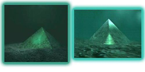 Two giant underwater pyramids, made of thick glass, found in the center of the Bermuda Triangle. #woah