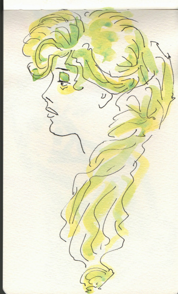 Woman watercolor sketch, Moleskine.