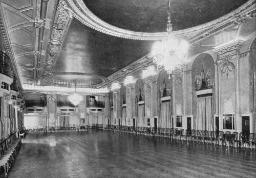 The Grand Ballroom at the Book Cadillac Hotel in downtown Detroit. Circa 1920s. When it opened in 1924, the Book Cadillac was the tallest building in Detroit and the tallest hotel in the world