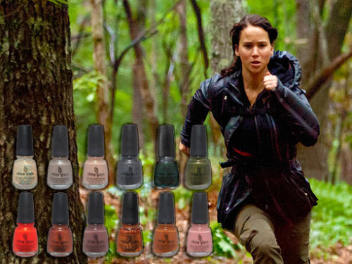 "Did you guys know that a Hunger Games-inspired nail polish collection was released in March? Because when we think of Katniss, a perfect manicure is obviously what springs to mind. Shades include ""Smoke and Ash,"" ""Hook and Line,"" and ""Foie Gras"" — for District 10's livestock industry, naturally. This, of course, is far from the first weird nail polish/pop culture collaboration. See collections inspired by James Bond, the Muppets, and much more here."