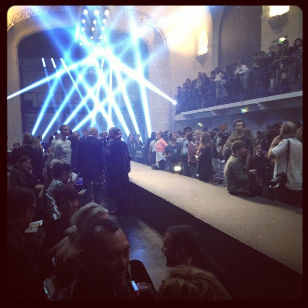 Front row at the Jean Paul Gaultier Spring 2013 show, Paris- a tribute to 80s pop icons.  A fun really fun time.