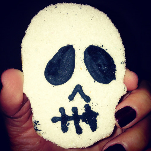 Enjoying skull sugar cookies from Dean & Deluca in NYC. Yum!!