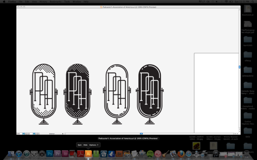 seminaldesigner:  Still working on a Podcaster's Association of America logo.  I like the first one the most.
