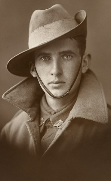 Unidentified soldier of the First AIF by Australian War Memorial collection on Flickr. ID Number:  P06003.001  Place made: Unknown The photograph was probably taken in Australia, pre-embarkation, sometime between 1915 and 1918. Featured in the Memorial's 2008 exhibition  Icon and Archive, the identity of this striking-looking man is not known and the Memorial had a lot of responses from people with possible identifications, none of which have been him.  Rights Info: No known copyright restrictions. This photograph is from the Australian War Memorial's collection www.awm.gov.au Persistent URL: cas.awm.gov.au/photograph/P06003.001