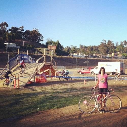 huge cyclocross event yesterday before the race #fixie #socalcross #cycling #girlsonbikes  (Taken with Instagram at Los Angeles State Historic Park)