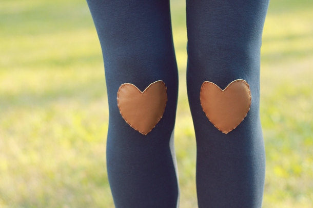 Heart Knee-Patch Leggings Navy leggings with brown leather hearts on the knees. Sold on Etsy.
