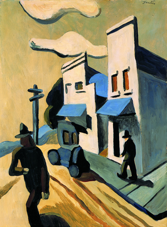 Thomas Hart Benton (1889–1975) - Boomtown, c. 1927 Oil on masonite, 15 1/2 x 11 3/8 inches, The Flint Institute of Arts