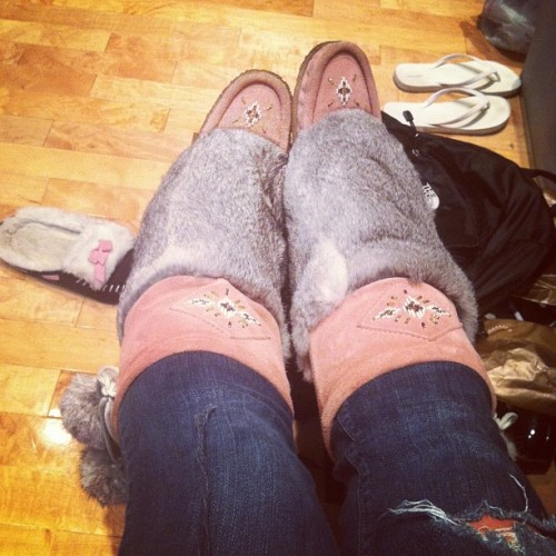 My goodness I've missed these babies. 🐇 #boots #fall #mukluks #rabbit #pink #fluffy (Taken with Instagram)