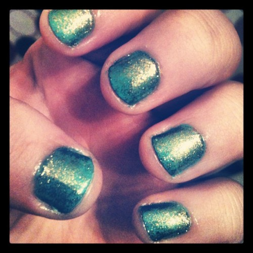 #nails #of #the #week! #seafoam #blue #green #with #gold #glitter! #cutecutecute! (Taken with Instagram)
