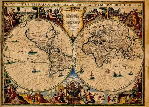 explore-blog:  Stunning 1595 map of the world by Flemish artist, engraver and cartographer Jodocus Hondius, depicting the first English circumvention of the globe (1577-1580) by Sir Francis Drake and a subsequent one (1586-1588) by his countryman Thomas Cavendish. More such gems in Magnificent Maps: Power, Propaganda, and Art. Available as a print here.