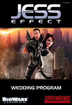 Jess Effect - Custom Mass Effect / SNES Wedding Program Cover by Justin Page
