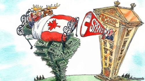 "CANADA'S ruling Conservatives like to boast that their country weathered the world recession better than any other G7 member. Though they tend to attribute this success to their own policies, one of the main causes was Canada's conservative corporate culture. Its banks had barely dabbled in subprime mortgages when America's housing market imploded. That caution, widely seen as a virtue during the financial crisis, now looks problematic in a recovery that is at risk of choking. In 2010 and 2011 Canada's GDP grew by an average of 2.8% a year, more than America's and than the economies of other rich commodity-dependent countries like Australia, New Zealand and Norway. The OECD now predicts it will grow by 1.9% in 2012, the same as New Zealand and less than the other three countries. (via Canada's economy: Hey, small spender | The Economist) Meanwhile, consumer spending has been spurred by a housing boom that is often compared to America's pre-crisis bubble. The central bank has kept its benchmark interest rate at 1% for two years, encouraging Canadians to pile up debt, particularly in mortgages. In Toronto house prices have risen by 8.3% in the past year. Mark Carney, the bank's governor, has issued repeated warnings about these growing liabilities. Consumers' ability to borrow and spend may be nearing its limit. The government is doing its best to talk firms into investing. Mr Carney has demanded they start spending their ""dead money"", which earns little interest thanks to his low rates. ""Their job is to put money to work,"" he said recently, ""and if they can't think of what to do with it they should give it back to their shareholders."" Jim Flaherty, the finance minister, sounded almost plaintive when he reminded a group of executives last month that the government had reduced tax rates, cut red tape and increased tax incentives to encourage them to invest. ""Ultimately, it is up to you in the private sector to take advantage of all of these strengths and to invest, to create jobs and to grow our economy,"" he said. For now, however, their entreaties seem to be falling on deaf ears. Michael Holden, an economist at the Canada West Foundation, a think-tank, says that urging firms to move faster was like ""people who honk at the car in front of them in a traffic jam"". Officials could also push education reform to encourage schools to train bolder executives, though that has not been a priority so far. Bill Currie of Deloitte, a consultancy, says Canada could produce managers more comfortable with risk by making university courses for businesses and engineers broader and more creative, and by teaching more economics in secondary school. But Mr Carney and Mr Flaherty will be long gone by the time such projects bear fruit. Just now the bully pulpit is all they have got. be more like usa?? really?!?"