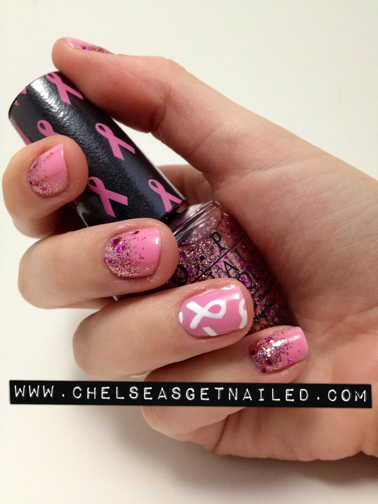 October is Breast Cancer Awareness Month! I think its so awesome that OPI came out with the Pink of Hearts 2012 set, not only because they are beautiful colors but its great to see so many nail polish companies coming out with limited edition polishes in support! I used I Think in Pink as my base color - its the perfect shade of pink! It was completely opaque in 2 coats. I then layered You Glitter Be Good to Me on my nails for a gradient effect. I used Lechat Nail Art stripers for the ribbon design on my accent finger.  I definitely recommend purchasing this set! Its perfect to show your support for Breast Cancer Awareness Month but its also great to use all year-round. Pink of Hearts 2012 will be available September and October 2012 at Professional Salons, including Beauty Brands, Beauty First, Dillard's, JCPenney, Pure Beauty, Regis, Trade Secret, and ULTA, for $14.95 ($20.95 CAN) suggested retail. For more information, please call 800-341-9999 or visit www.opi.com. Follow OPI on Twitter @OPI_PRODUCTS and become a Facebook fan!  *this product was sent to me for review
