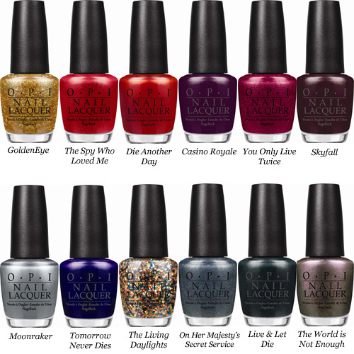 "mandiesmanicures:  PREVIEW: OPI James Bond Skyfall Collection (Holiday 2012) OPI Marks 50 Years of Bond 007 with Holiday Lacquers Inspired by Skyfall This holiday season, OPI celebrates the 50th Anniversary of a fellow world icon – James Bond – appearing in Skyfall. Starring Daniel Craig and Javier Bardem, this highly-anticipated twenty-third installment opens in theaters nationwide on November 9, 2012.  Inspired by the film's blend of glamour and danger, OPI launches Skyfall Collection, featuring twelve limited-edition nail lacquers for Holiday 2012. ""OPI is thrilled to work with EON Productions to celebrate 50 years of the style, swagger and mystique associated with Bond 007,"" said Suzi Weiss-Fischmann, OPI Executive VP & Artistic Director.  ""From metallic and glitter finishes to jewel tones and even a jet black, these lacquers capture the film's sophisticated and glamorous look. ""Watch for Bérénice Marlohe wearing two Skyfall Collection shades in the film,"" adds Weiss-Fischmann. ""With Skyfall, a rich maroon, painted on top of the nail and GoldenEye, a shimmering gold, painted on the undersides, Marlohe's luxurious manicure will be the one to try this holiday season."" The Skyfall Collection features six shades that play off the movie's seductive theme, and another six that offer a more dangerous look, including: GoldenEye All eyes will be upon you when you wear this glorious gold. The Spy Who Loved Me A red as romantic as the secret agent inside you. Die Another Day Live in the moment in this hot and lively red. Casino Royale This high-rolling plum is fit for royalty. You Only Live Twice This rich high-shimmer magenta is a once-in-a-lifetime find. Skyfall Get Bonded with this magnificent maroon. Moonraker Drive your fastest car to get this exhilarating metallic grey. Tomorrow Never Dies This eternally intense purple will live forever. The Living Daylights This courageous multi-hued glitter sparkles 24/007. On Her Majesty's Secret Service This misty-green pewter commands attention. Live & Let Die Burn the candles on both ends in this private jet black. The World is Not Enough This rosy silver is as addictive as it is beautiful. As with all OPI nail lacquers, these shades inspired by Skyfall contain no DBP, Toluene, or Formaldehyde, and feature OPI's exclusive ProWide™ Brush for the ultimate in application. This limited edition promotion will be available beginning October 2012 at Professional Salons, including Beauty Brands, Beauty First, Chatters, Dillard's, JCPenney, Pure Beauty, Regis, Trade Secret, and ULTA, for  $8.50 ($9.95 CAN) suggested retail for each Nail Lacquer. For more information, please call 800-341-9999 or visit www.opi.com. Follow OPI on Twitter @OPI_PRODUCTS and become a Facebook fan!"