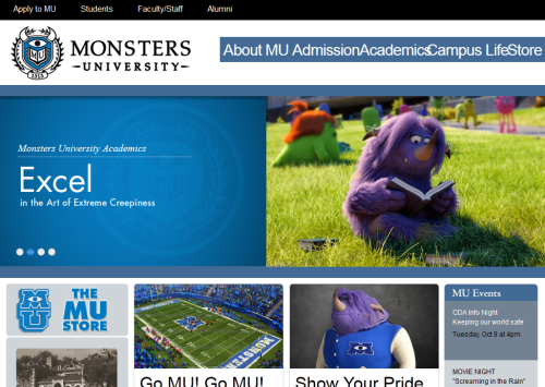 taylormariegreen:  elsavanhelsing:  In which Pixar makes a better website for an imaginary university than half the real ones out there.  I like that their school sweatshirt has extra arm holes.  Guys, I found my college!