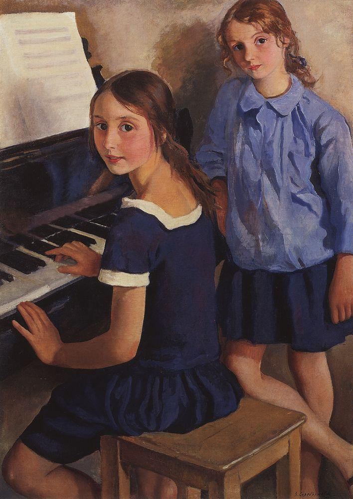 books0977:  Girls at the piano (Tata and Katya), 1922. Zinaida Serebriakova (Russian, Art Nouveau, 1884-1967). The artist's daughters Tatyana and Ekaterina. In the 1920s in Paris, she earned a living painting society portraits, but spent free time exploring subjects she had first discovered in Russia. She continued to paint affectionate studies of her daughters, often posing in the nude. She also painted other female models, reclining in her studio with patterned wraps and decorative drapes. Such nude studies were informal, often erotic, characterized by a spontaneous, but firm handling of line.