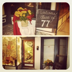 #brooklynplace #chalkboard #sidewalk #sign #mums #flowers #front #door #lights #window #entrance #reunion #1977 #event #host #hosting (Taken with Instagram)