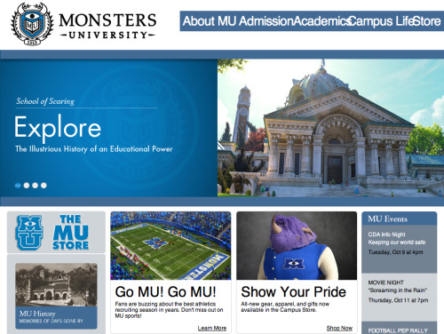 pixartimes:  Amazing MONSTERS UNIVERSITY Viral Website Launches. Read More »  How cute! And clever.