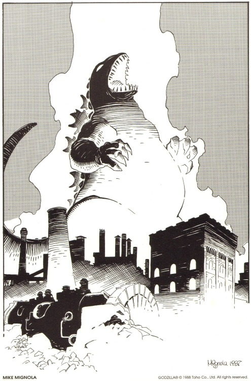 kaijucast:  Mike Mignola's Godzilla print from Dark Horse Comics' The Godzilla Portfolio #1
