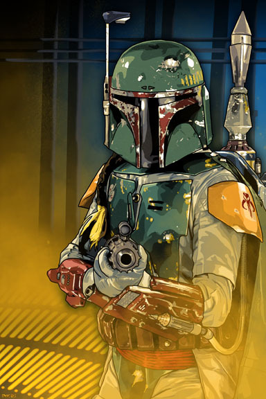 The bounty hunter Boba Fett depicted by Brian C. Roll. Fun fact: Boba Fett was played by John Fass Morton in the scenes set in the carbon freezing chamber and Jeremy Bulloch in the rest of The Empire Strikes Back.