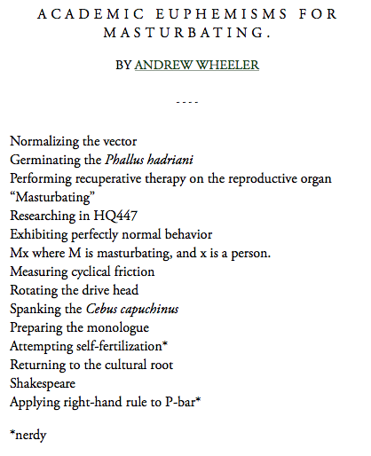 thenoobyorker:  Academic Euphemisms for Masturbating [McSweeney's]  #4 is film-studies-y