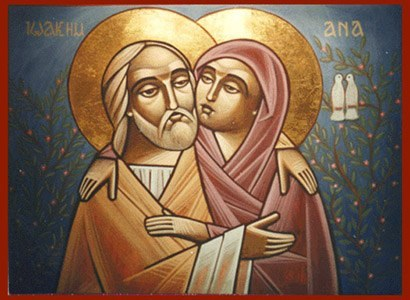 I recently found this Coptic Icon of Sts. Anne and Joachim. I like it.