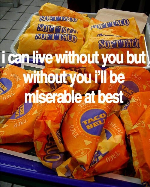 oneepicsummer:  detonat3:  life.  taco bell omfg. my love right here.  seriously mayday parade..LOL