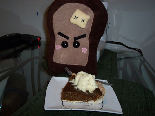 Happy Canadian Thanksgiving! Unfortunately, Angry Toast stole my pumpkin pie, grrrr. I've never seen a slice of toast move so fast!