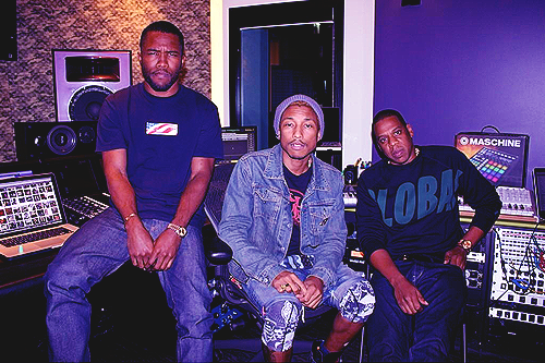 Frank Ocean, Pharrell Williams, and Jay-Z in the studio.