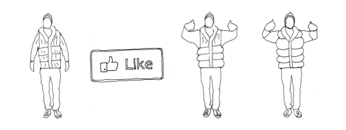 'Like-A-Hug is a wearable social media vest that allows for hugs to be given via Facebook, bringing us closer despite physical distance. The vest inflates when friends 'Like' a photo, video, or status update on the wearer's wall, thereby allowing us to feel the warmth, encouragement, support, or love that we feel when we receive hugs. Hugs can also be sent back to the original sender by squeezing the vest and deflating it.' From MIT.