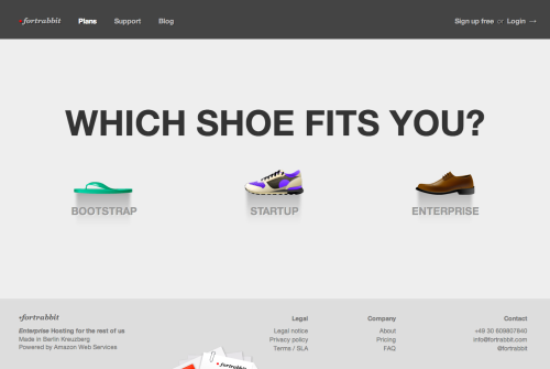 fortrabbit - Pricing page allowing users to choose between a sandal (bootstrap plan), running shoe (startup plan) or dress shoe (enterprise plan). /via Marc Köhlbrugge