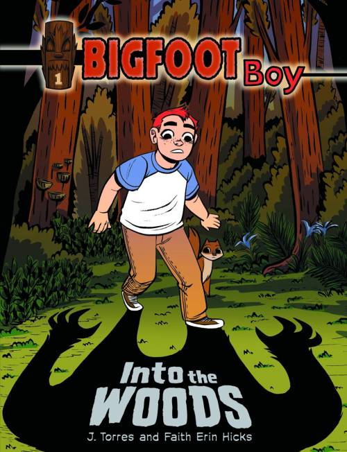 Market Monday Bigfoot Boy vol. 1: Into the Woods TP, art by Faith Erin Hicks  Rufus is bo-o-o-ored at his grammy's house in the country. But when he follows a girl into the woods and finds a totem in a hollowed out tree, things become a whole lot more interesting. Especially when he reads the word etched into the magical talisman: Sasquatch.