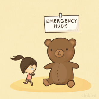 chibird:  Teddy bear and real person hugs are the most comforting, but as a last resort, take my virtual hug. >w<