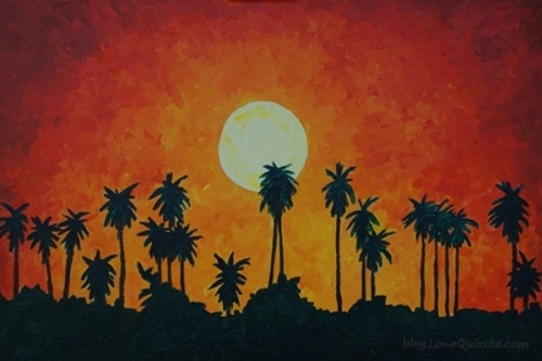 Palm Trees with Setting Sun ~ Lone Quixote