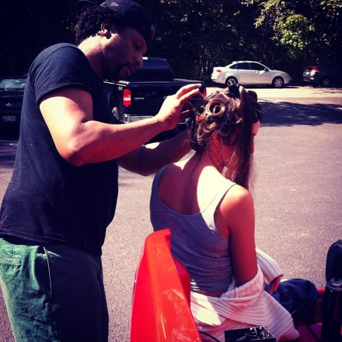 fashion designer & hairstylist DeWayne McKnight, doing work as we prepare to shoot his new pieces. #nashville #fashion #instaglam #photoshoot  (Taken with Instagram)