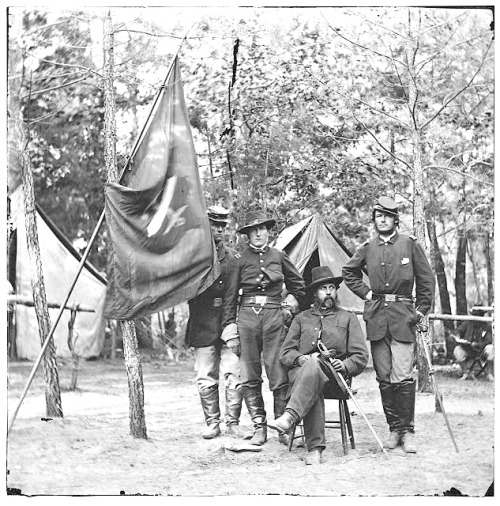 "Petersburg, Virginia. General Orlando B. Willcox and staff, 3d Division, 9th Corps Wounded and captured in the First Battle of Bull Run (First Manassas) while in command of a brigade in Maj. Gen. Samuel P. Heintzelman's division. He later received the Medal of Honor in 1895 for ""most distinguished gallantry"" during the battle. He died in Cobourg, Ontario, at 85 years of age and was buried in Section 1, Grave 18, of Arlington National Cemetery."