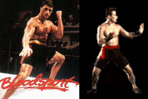 Van Damme in Mortal Kombat: Bloodsport Edition «< Video Link Mortal Kombat, one of the earliest games to probably be banned by your mother for so much blood and violence almost ended up being a mini shrine to Jean-Claude Van Damme. Thank goodness for us the games company, Midway, Could not afford to buy his name and likeness. They kinda just stole it, stuffed it in the game, and transformed a few details to make it legal. Basically they stole his likeness in the movie Bloodsport,actions and all, and just kinda hid it all. That's where Johnny Cage was born.