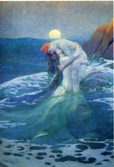 "hellogorey:  Howard Pyle's ""The Mermaid"" I saw this in real life when I was 14 and cried. The guy was amazing. He stole his son's crayons on his first day of school and drew an unreal life-like pirate climbing storm-torn deck until the crayons were down to the nub.  I grew up reading Howard Pyle's versions of King Arthur tales. Now yet another reason to love him."