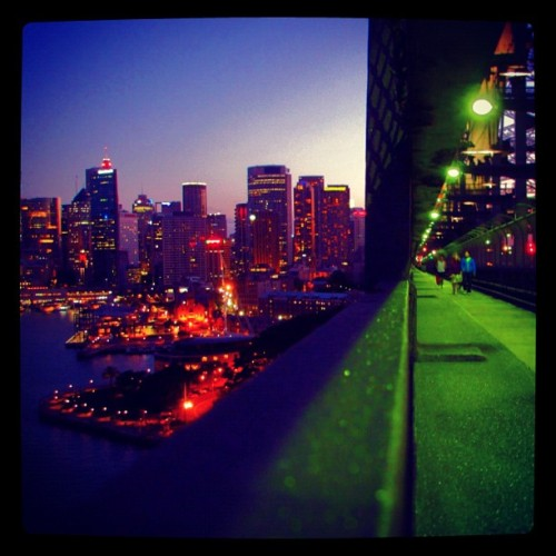 Sydney's City Center from the Harbour Bridge at dusk (Taken with Instagram)