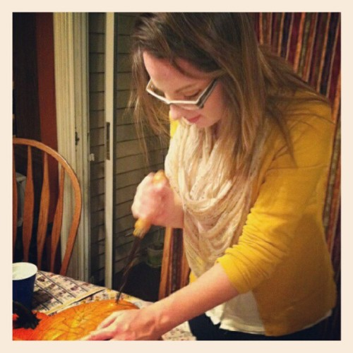 Carving my first pumpkin of the season! (Taken with Instagram)