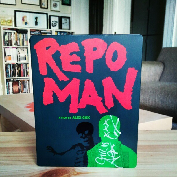 alex cox's REPO MAN with cox's autograph (Taken by chris anthony diaz with Instagram)