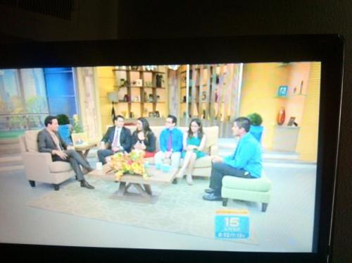 This is a picture of my cousin in Despierta America receiving a scholarship from the president of Univision…