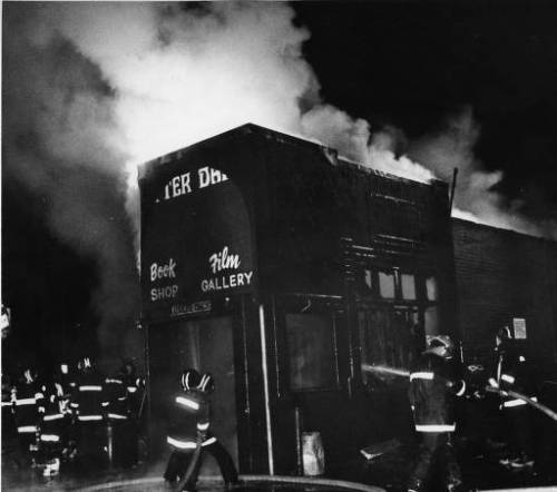 """Arsonists destroy After Dark, a bookstore and video store catering to gay men, Atlanta, Georgia, December 4, 1980."" Notes say this was at 12th St and Peachtree St."