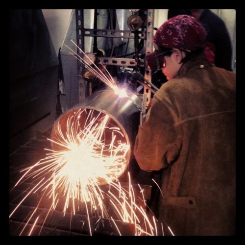 #sutro #lux #pcc #welding #pipe helping Carly cut some pipe at skool shits going down  (Taken with Instagram)