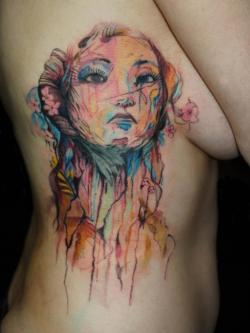 "the-starlight-hotel:  Tattoo by Tarvo Kerves. He says, ""Original artwork by Carne Griffiths. Needs another hour or two."" Haven't seen a finished shot of this."
