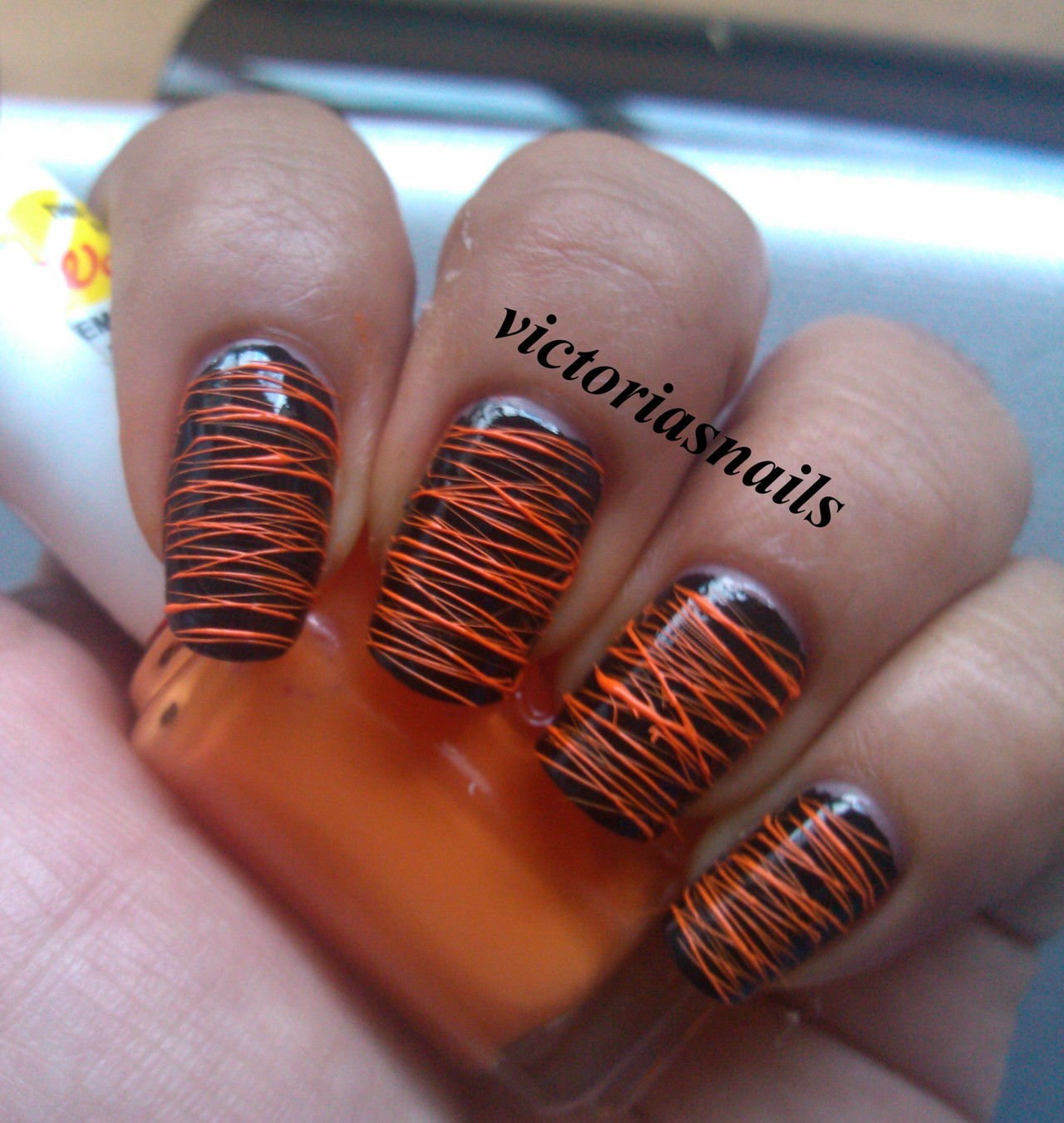 justtisems:  victoriasnails:  Just had to do more sugar spun nails! You might be seeing these a lot from me! lol Colors used: Wet N' Wild - Black Creme Essie - Fear or Desire  These came out perfect!
