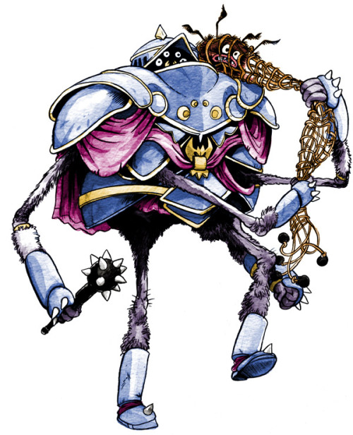 Sir Spinsilk, the Arachknight. Legendary in the greater web kingdoms of the Mountain Trees, Spinsilk's deeds inspired the modern Spider Code of Chivalry which frowns upon jumping from the ceiling into a maiden's hair.
